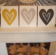 Grey love heart hand painted canvas picture for any room mustard silver.