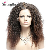 Kinky Curly Synthetic Lace Front Wig Afro Ombre Brown Middle Part for Women Wigs