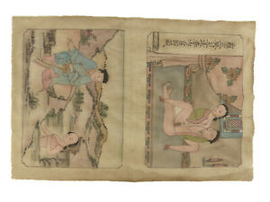 Antique Chinese Erotica Painting Nudes Sex Anonymous c Early 1900s Original