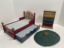 Vintage Concord 1997 Noahs Arc Trundle Bed Dresser Rug Dollhouse Miniature 1:12