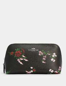 COACH F26226 Cross Stitch  Floral Cosmetic Case 17 Makeup Bag Black Mult