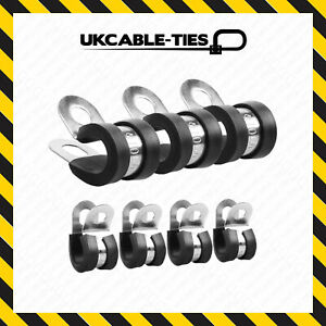 45 Assorted Mixed Rubber Lined Zinc Plated Metal P Clips for Wire, Cable