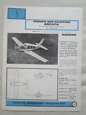 PLAQUETTE DOCUMENT 1967 SUD AVIATION SOCATA HORIZON AIRCRAFT AVION FLUGZEUG
