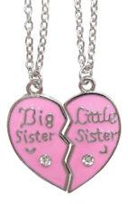 2 colliers pendentifs coeur roseà séparer petite (little) et grande (big) soeur.