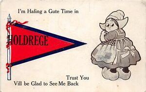 H66/ Holdrege Nebraska Postcard c1912 Pennant Dutch Girl Gute Time  35