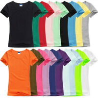 Mens Womens Summer Solid T-Shirts Short Sleeve Casual O-Neck Tops Tee Plus Size