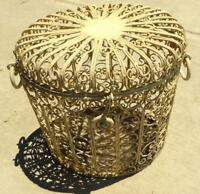 Ornamental Iron Vintage Basket Hamper with hinged lid early 1960s