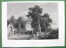 ITALIAN MONASTERY at Pavia Landscape by Achenbach - FINE QUALITY Antique Print
