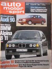AUTO MOTOR UND SPORT 25.4. - 9/1987 BMW Alpina B 11 Audi 90 Ford Sierra 2.0 CL