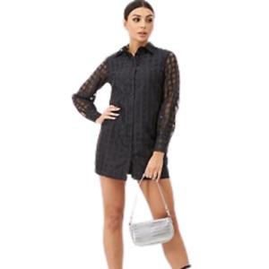 BOHOO Check Mesh Shirt Dress BNWT Size 12
