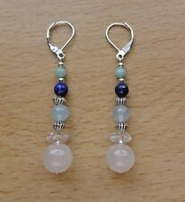UNUSUAL MIXED GEMSTONES CHAKRA /boho EAR RINGS St Silver Gift wrapped