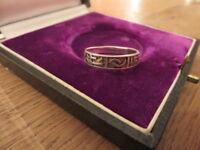 Hübscher 925 Silber Ring Striche Welle Indianer Ethno Unisex Modern Muster