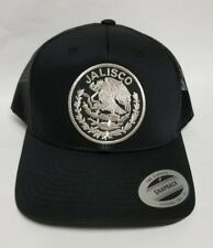 JALISCO   MEXICO HAT MESH TRUCKER BLACK  LOGO SILVER METALIC   SNAP BACK NEW