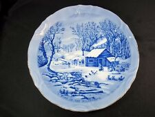 Currier & Ives cabinet plate blue white Home in the Wilderness gold rim 8""
