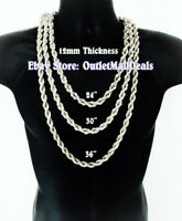 "Hip Hop 14K White Gold Plated 12mm Silver Rope Chain Necklace 24"" 30"" 36"" inches"