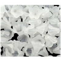 200 White Lily Flower Frosted Acrylic Beads 14x10mm E3Z2