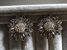 Clip on earrings crystal vintage style flower high quality glamorous elegant
