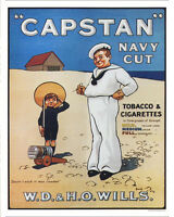 Capstan Navy Cut Tobacco & Cigarttes VINTAGE ENAMEL METAL TIN SIGN WALL PLAQUE