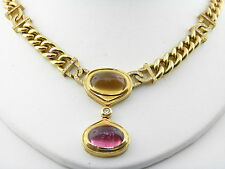 Vintage Ruby & Citrine Diamond Link Necklace in 18k Yellow Gold.