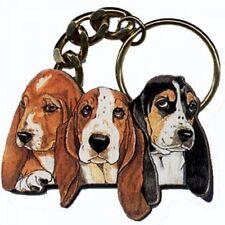 DIE-CUT WOOD BASSET HOUND DOG KEYCHAIN