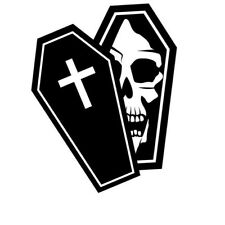 SKULL FACE IN COFFIN DECAL STICKER