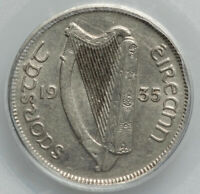 Irish Free State Sixpence 6D 1935 Hound and Harp PCGS AU55