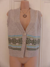 Fat Face size 10 beige thin knit sleeveless cardigan blue and green patterns