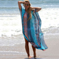 Womens Short Sleeve Floral Loose Bikini Cover Up Beach Chiffon Tunic Maxi Dress
