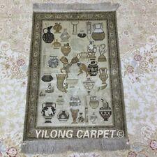 YILONG 2'x3' 400Line Egypt Tapestry Silk Carpet Hanging Villa Area Rug 016H