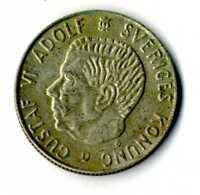 Moneda Suecia 1 corona año 1964 Rey Gustaf VI Adolf plata .400 Sveriges  coins