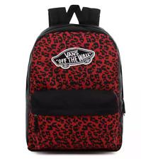 Vans School Bag Realm Backpack Red Black leopard Print Casual Rucksack laptop