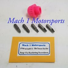 SNAP ON Ratcheting Screwdriver CAP & 5 REPLACEMENT Bits Bl Red Org Snap-On Tools