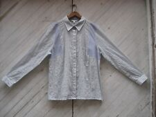 CAbi Blue White Crinkle Texture Shirt XL ~ Seersucker ~ Cotton Gauze