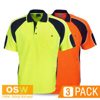3 X HI VIS UNISEX WORK POLO COOL DRY ORANGE/YELLOW TRADIES SAFETY POLO SHIRTS