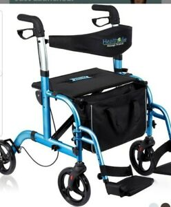 Health Line Massage Products 2-in-1 Rollator Walker Transport Chair  W Paded