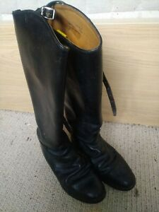 Hawkins Royale Leather Riding Boots. Garter Straps. Black.  7. Made In England