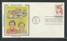 "# 1549 RETARDED CHILDREN CAN BE HELPED 1974 Colorano ""Silk"" First Day Cover"