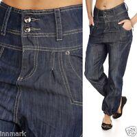 179 Stunning Oversize Fit Harem Cuff Denim Blue Jeans 5 Pockets Size UK 8 - 16
