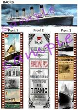 3 Lot-TITANIC BOOKMARKS Retro Boarding SHIP Pass Vintage ART Newspaper Ad photos