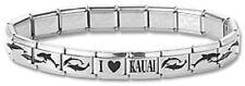 Italian Charm Bracelet Stainless Steel Dolphin Silver Modular Link I Heart Kauai
