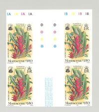 Montserrat #552 Flowers 1v Imperf Gutter Block of 4