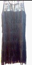 Warehouse 1920s Gatsby Flapper Charleston Downton Fringe Tassel Dress Uk Size 8