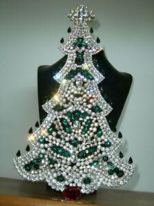 XXL ART DECO VINTAGE RHINESTONE Christmas TREE XMASS STANDING *SIGNED* X437