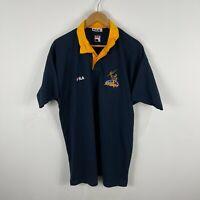 VINTAGE Melbourne Storm FILA Polo Shirt Jersey XL Blue Short Sleeve Australia