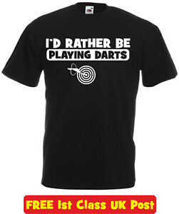 I'd Rather Be Darts Funny T Shirt Xmas Christmas Birthday Gift Mens Ladies