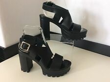 TOPSHOP black Leather Shoes New Size 38 Uk 5 Strap Peep Toe  Bnwob Heels Rrp £68