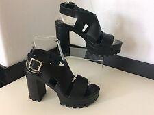 TOPSHOP black Leather Shoes New Size 38 Uk 5 Strap Peep Toe  Bnwob Heels Rrp £68