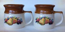 2 x Bendigo Pottery Australia Heritage Mugs Fruits Design