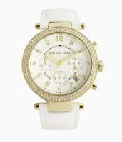 Michael Kors MK2290 Parker Gold Tone White Leather Strap Women's Watch