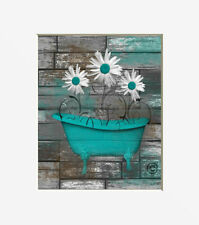 Teal Brown Bathroom Wall Decor Daisy Flowers,Teal Artwork Matted Pictures